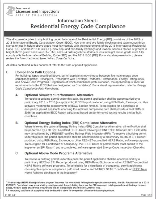 Residential Energy Code Compliance